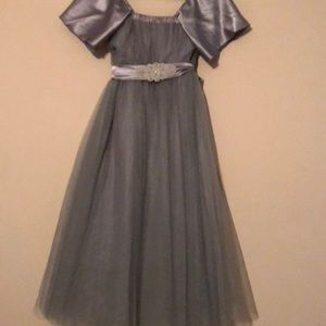 Custom made Gray junior bridesmaids dress for girl